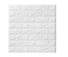 Idea Regalo - Carta da Parati Mattoni Bianco 3D, Kasliny parete smontabile e bastone adesivo per parete in PE a schiuma per ufficio di casa di soggiorno (5 pezzi mattoni Bianca)