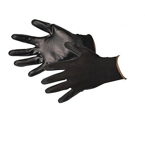 12 Paires De simili cuir noir Revêtu Nylon Travail Gants Toutes Tailles - M