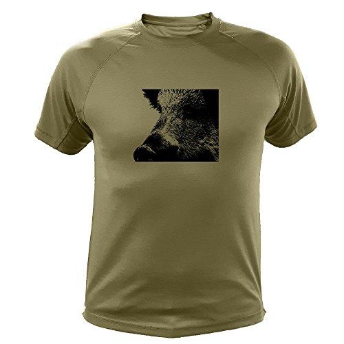 Jagd T Shirt, Wildschwein Zoom, Lustiges Geschenk für Jäger (300, Grun, M)