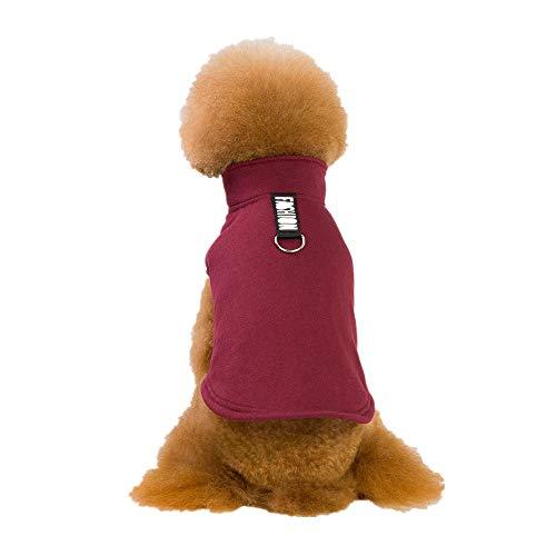 (Fenverk Mode GemüTlich Gedruckt Baumwolle Mit Kapuze Sweatshirts Hund Kleider Haustier Kleidung HüNdchen Weste T-Shirt Mantel Bekleidung Cosplay Party Sicherheit KostüMe(Weinrot,S))