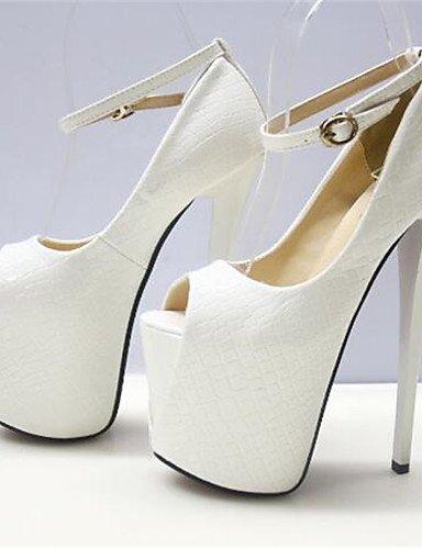 WSS 2016 Chaussures Femme-Habillé-Noir / Blanc-Talon Aiguille-Bout Ouvert-Talons-Similicuir white-us5 / eu35 / uk3 / cn34