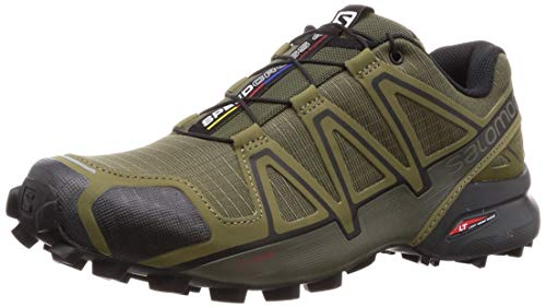 Salomon Speedcross 4, Scarpe da Trail Running Uomo, Verde (Grape Leaf/Burnt Olive/Black), 42 2/3 EU