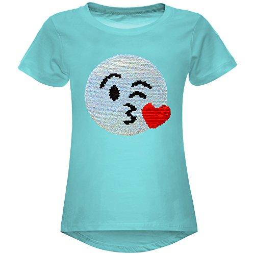 BEZLIT Mädchen Wende-Pailletten Stretch T-Shirt Smile-Motiv 22606, Farbe:Grün, Größe:116 (Schule Mädchen Outfit Kostüme)