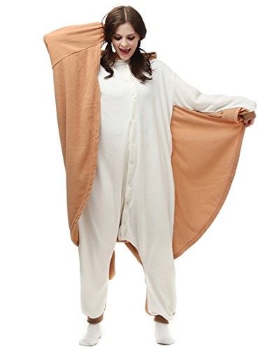 Pan Weiblich Für Erwachsene Kostüm Peter - URVIP Erwachsene Unisex Jumpsuit Tier Cartoon Fasching Halloween Pyjama Kostüm Onesie Fleece-Overall Schlafanzug Fliegende Ratte Large
