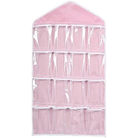 ROSENICE Organizzatore d'attaccatura 16 tasche chiaro sopra porta calzini reggiseno Rack Hanger biancheria intima armadio Storage(Pink)