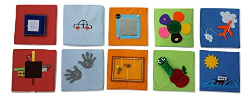 Tantino Activity Boards 25x25 cm (5 Soft Boards with 10 Activities) , Sensory Boards, Busy Boards,Montessori Boards,Quiet Book,Busy Book, Handmade Toy,6 Months Toy,Toddler,Early Learning,Twins