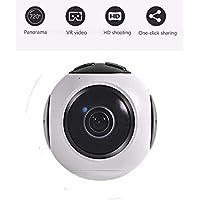 Mini cámaras de vídeo VR, cámara de acción de vídeo de 360 grados, mini DVR grabador HD panorama cámara deporte conducción VR cámara en tiempo real transmisión en vivo smartphone Android, blanco