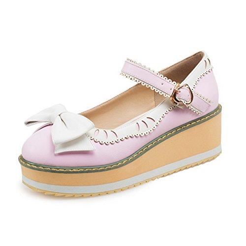 AgooLar Damen Pu Leder Mittler Absatz Rund Zehe Gemischte Farbe Schnalle Pumps Schuhe Pink