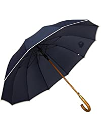 AP® - Automatik Regenschirm windfest für Damen und Herren - eleganter Stock-Schirm aus Holz - 12 fache Verstrebung Carbon Fiber - groß stabil & windresistent sturmfest - 115cm Ø