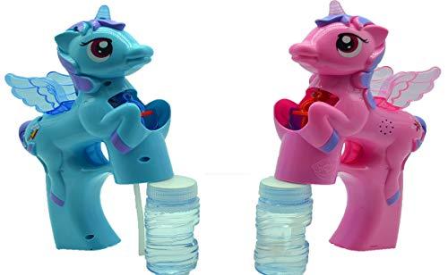 GYD Seifenblasen-Pistole SEIFENBLASEN Pistole mit LED! Seifenblasenmaschine Blau Oder Rosa + 2X Seifenblasen Flasche im Set Pony Einhorn