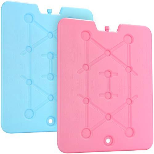 com-four® 2X extrem Flache Kühlakkus 600ml in bunten Farben, sehr platzsparend - große Kühlelemente für Kühlbox und Kühltasche [Farbauswahl variiert!] (2 Stück - groß)