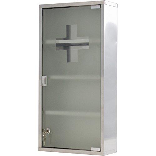Oxid7® Medizinschrank Arzneischrank Erste Hilfe Schrank 30 x 13 x 60 cm - mit 4 Fächern und Glas-Tür zum Abschließen mit 2 Schlüsseln für kindersichere Medikamenten Lagerung