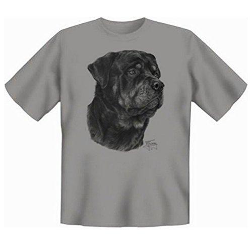 Rottweiler T-Shirt Hunde Motiv Fb grau Grau
