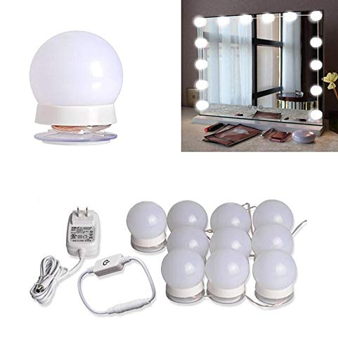 DSGG Spiegel Beleuchtung LED Vanity Makeup Mirror Hollywood Style Lights Kit Mit 10 Dimmable Bulbs, Lighting Fixture Strip Für Set In Dressing Room (Mirror Not Included),Warmwhitelight - Style Vanity Set