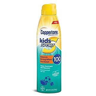 Coppertone – Protector solar para niños de amplio espectro, factor SPF 100, resistente al agua, en espray continuo (163 ml)