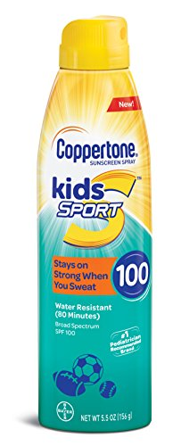 Coppertone Kids Sport Sunscreen Water Resistant Continuous Spray Broad Spectrum SPF 100, 5.5 Ounces -
