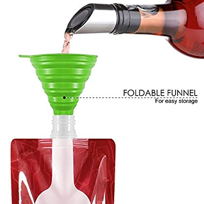 Jarger Foldable Wine Bag, 750 ml, Portable Reusable Plastic Wine Bottle Pouch, 4 Pack Collapsible Liquid Leak Proof Flask Holder for Wine Liquor Beverages, Travel, Gift - Red 8