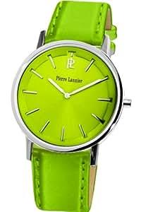 Pierre Lannier - 156H677 - Tendance - Montre Femme - Quartz Analogique - Cadran Vert Anis - Bracelet Cuir Vert