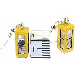 Cabina telefónica de pendientes colgantes de teléfono Miniblings pajarera retro amarillo 3D