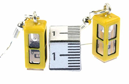 Telefonzelle Ohrringe Hänger Miniblings Telefon Telefonhäuschen Retro gelb 3D