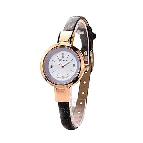 HUIHUI Uhren Damen, Geflochten Armbanduhren Günstige Uhren Wasserdicht Casual Strass Rivet Kette Runde Quarz Analog Armband Armbanduhr Coole Uhren Lederarmband Mädchen Frau Uhr (A)