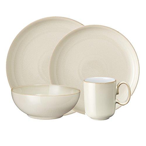 Denby Linen Speiseteller 21-Pound Kitchen Collection 16 PC Set Denby White Dinner Plate