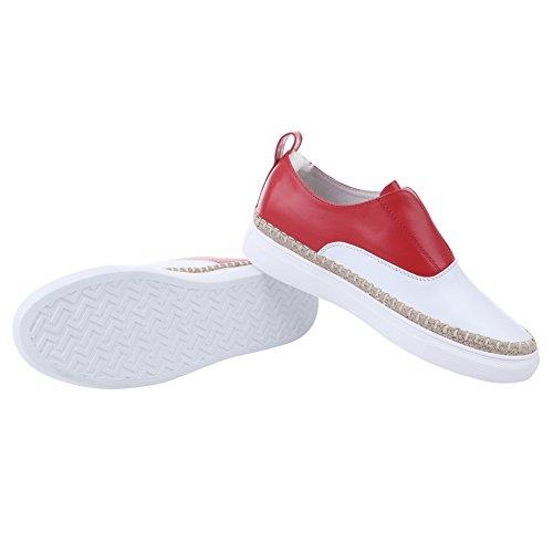 AIJIAER Autunno della molla comode scarpe da ginnastica morbida pelle donna 2052 Red