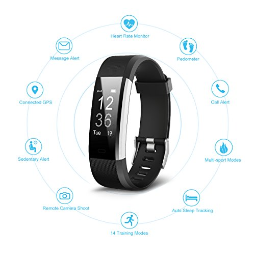 Fitness Tracker GENKI Heart Rate Smart Activity Tracker Watch Monitor Free Band IP67 Waterproof 14 Exercise Modes Sleep Monitor 4 Watch Interfaces GPS Route Tracking Pedometer Step Counter Tracker Wit