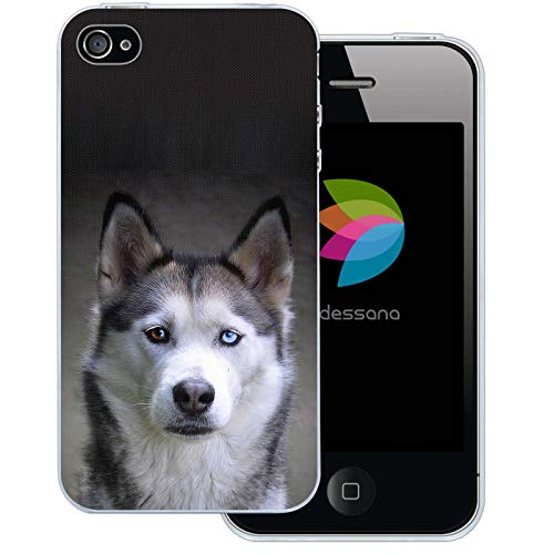 dessana Hunde Transparente Silikon TPU Schutzhülle 0,7mm dünne Handy Tasche Soft Case für Apple iPhone 4/4S Husky (4s Iphone Hülle Silikon Hund)