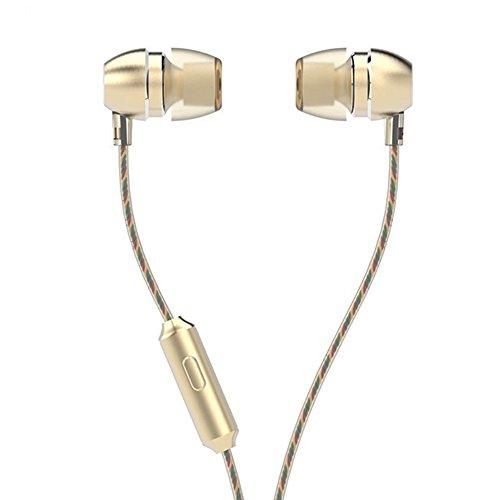 LIVEHITOP UiiSii HM7 cuffie di metallo, Video ad alta microfono auricolari con microfono stereo Bass in-ear per iPhone e Samsung Mobile Phone MP3 PC. (Oro)