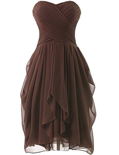 HUINI Strapless Brautjungfer Kleider kurz Chiffon Abendkleid mit Falte besetzt Ballkleid Schokolade