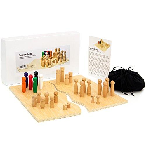 Familienbrett | Systembrett aus hochwertigem Holz für Familienaufstellung und Coaching | 32 Teile inkl. Aufbewahrungsbox