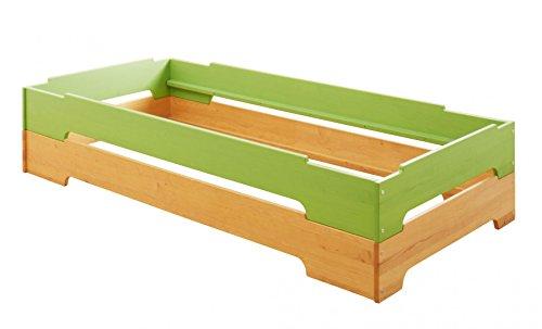 Preisvergleich Produktbild BioKinder 24338 2er Set Kai Stapelbett 90x200cm Erle grün lasiert