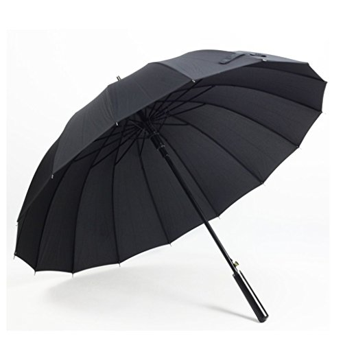 CZ-wyf Windproof Umbrella, Automatic Long Handle 16 Skeleton Sonnenschutz Unisex Umbrella (Color : Black) -