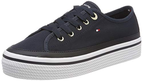 Tommy Hilfiger Damen Corporate Flatform Sneaker Blau (Midnight 403) 36 EU