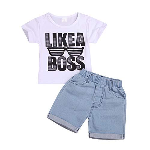Bekleidungsset Junge Kleinkind Kurzarm Brillen Muster Shirt Tops + Denim Short Set