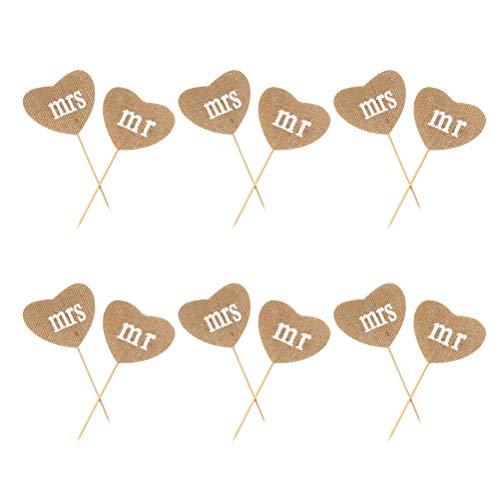 BESTONZON 12 stücke / 6 Sätze Rustikale Leinen Kuchendeckel Mr Mrs Herzform Kuchen Picks Cupcake Decor Party Supplies für Hochzeit Engagement (Engagement Party Decor)