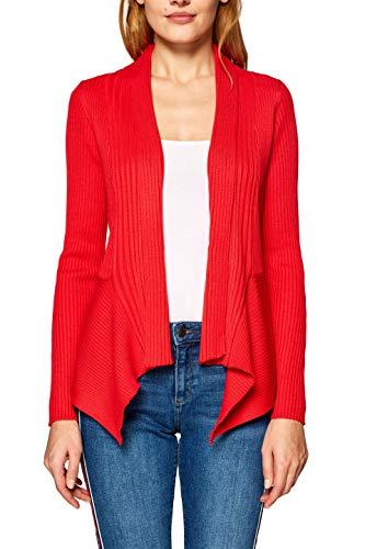 ESPRIT Damen 019EE1I001 Strickjacke, Rot (Dark Red 610), Large (Herstellergröße: L) Rot Damen Mantel