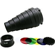 haoge Metal cónico Snoot con rejilla de panal y Kit de filtro de gel de color para Bowens soporte para Studio luz estroboscópica Monolight fotografía flash luz