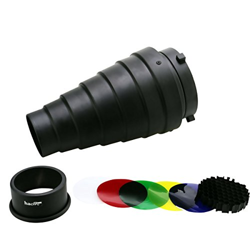 haoge-metal-conical-snoot-with-honeycomb-grid-and-color-gel-filter-kit-for-bowens-mount-studio-strob