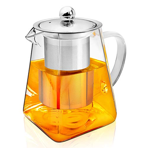 AckMond 500 ml Clear Glass Teapot, Stainless Steel Infuser & Lid, Borosilicate Glass Tea Pots