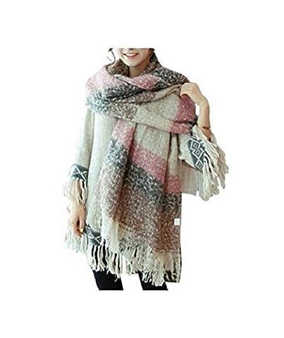 Weibestshop Lot Femme Couverture confortable chaud surdimensionné Écharpe tartan Wrap Châle Plaid douillet à carreaux Pashmina