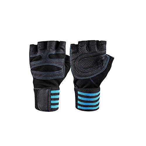 VIWIV Halffinger Sport-Fitness-Handschuhe mit langem Armband gegen Schleudern Gewichthebehandschuhe,Blue,L