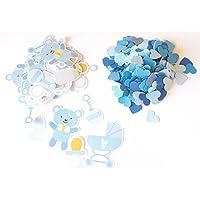 Confetti - coriandoli mix baby boy + cuore azzurro - 18 g - colore azzurro (tagliati a mano)