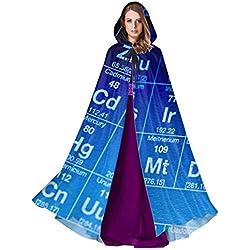 Yushg Tabla de los Elementos químicos Traje Capa con Capucha Capa para Hombre Capa 59 Pulgadas para Navidad Disfraces de Halloween Cosplay