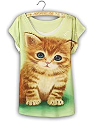 QHGstore Moda Vintage Vintage T shirt Mujer Ropa Tops Algodón Animal Imprimir Camiseta NO.4