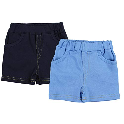 TupTam Jungen Kurze Hose Bermuda 2er Pack, Farbe: Dunkelblau/Blau, Größe: 92 cm 2er-pack Baby-hose