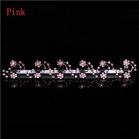 Frcolor Bridal Flowe Hair Clips strass épingle à cheveux casque nuptiale accessoires de mariage (rose)