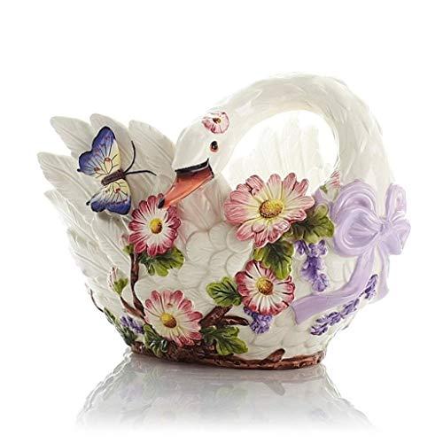 NMDD Obstteller Bonbonteller Keramik Schwan Kreative Mode Europäischen Stil HBJP Swan Candy Dish