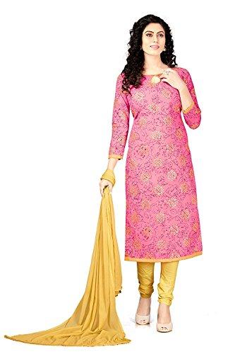 Dress (V.K.Creation new designer fancy dress material for woman Pink colour dresses...